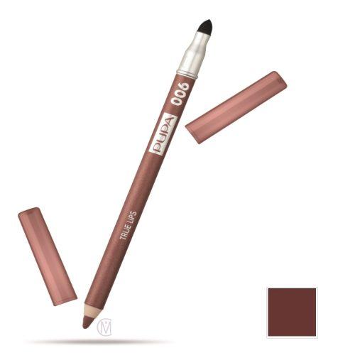 Pupa True Lips Lip Liner 06 Brown Red, Lipcontourpotlood met een mooi Natuurlijk Effect